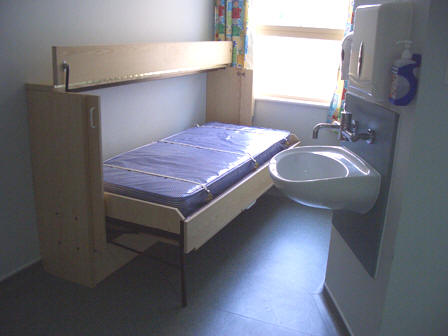 Bristol Royal Hospital for Children - 'Horizontal' 'Wiskaway'® 6000H Wallbed - open with top flap open